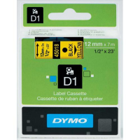 Dymo D1 Tape for Electronic Labelmakers 12mmx7m Black on Yellow Ref 45018 S0720580 260385