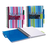 Pukka Pad Project Book Wirebound Perforated Ruled 3-Divider 80gsm 250pp A5 Assorted Ref PROBA5 Pack 3 836762